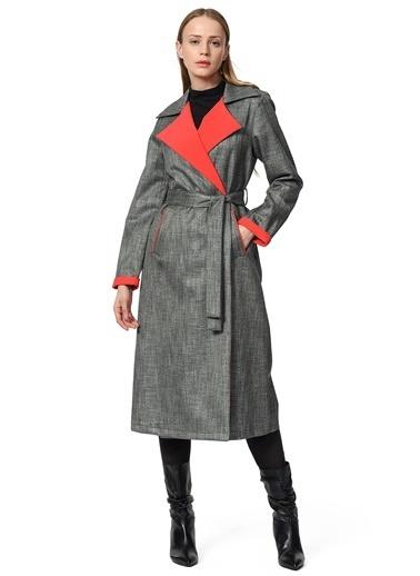 Mizalle Ekose Trenchcoat Kırmızı